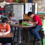 Marshall students using flexible seating provided by the DRA